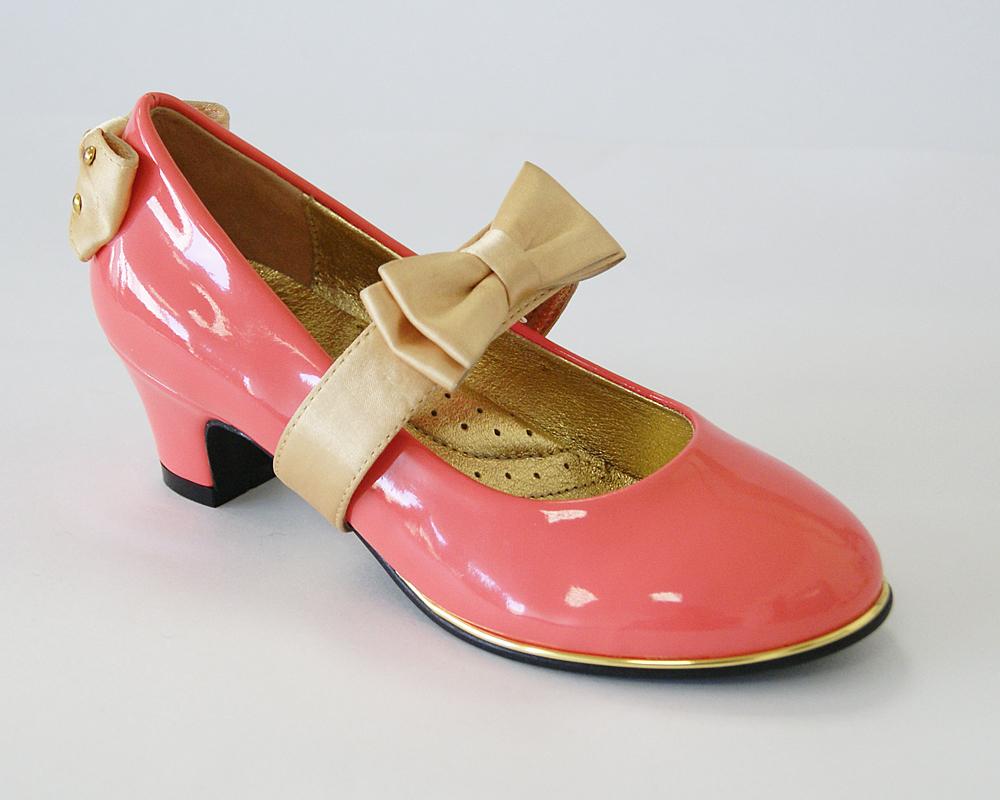 Туфли для девочек KING BOOTS KB0166 коралловый лак