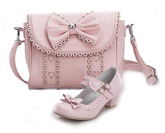 Комплект туфли и сумочка для девочек KB018 розовый KING BOOTS