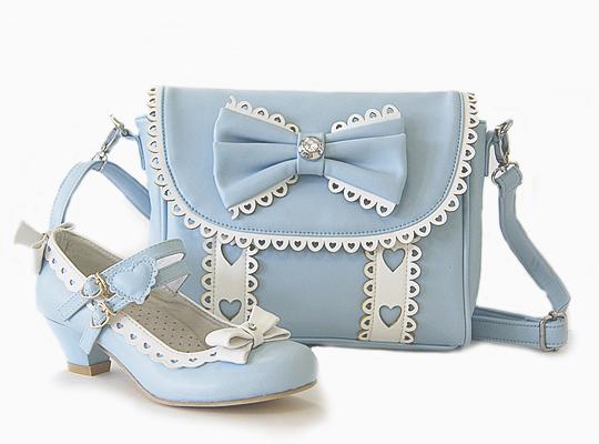 Комплект туфли и сумочка для девочек KB019 голубой KING BOOTS