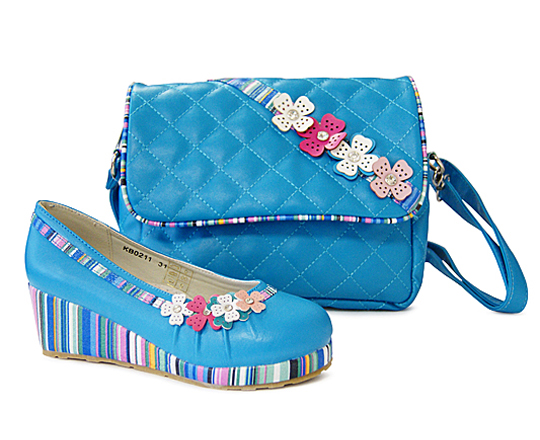 Комплект туфли и сумочка для девочек KING BOOTS KB0211 Blue stone