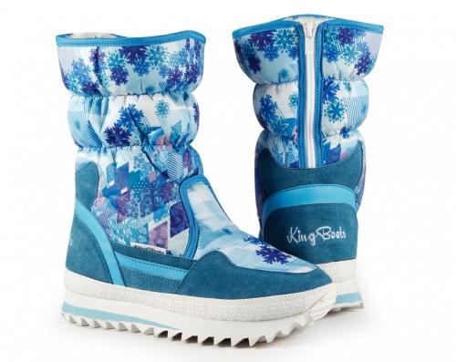 Сапоги зимние дутики KB2014B Blau KING BOOTS оптом.